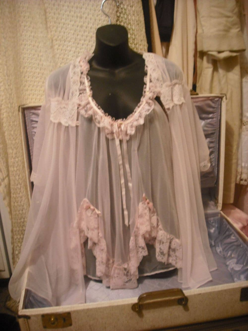 Vintage Sheer Pink Baby Doll Nightie W Mis Matched Robe