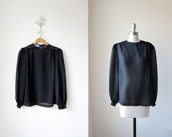 Black Sequin Blouse/ 70s Sheer Top/ Shaken and Stirred