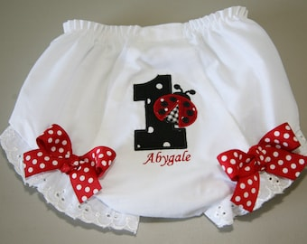 Number 1 with Ladybug Diaper Cover/Bloomers with Bows