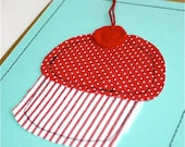 Red Birthday Cupcake Card. Polka dots and stripes.