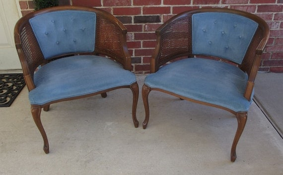 PRICE REDUCTION 1960's China Blue Velvet and Cane Barrelback Chair PAIR