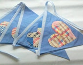 Vintage Patchwork Hearts Bunting or Banner for Event, Photography Prop