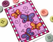 Original ACEO Art Card Orange and Purple Butterflies