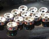 6mm 5x2mm SWARVOSKI Silver Plate AB Aurora Borealis Glass Crystal Rhinestone Rondelle Spacers - 12 pcs