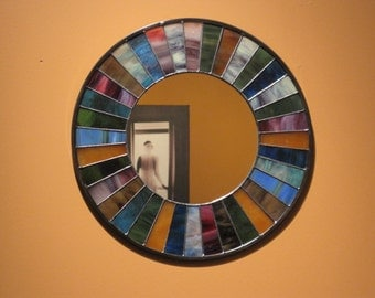 Round Multicolored Stained Glass Mirror