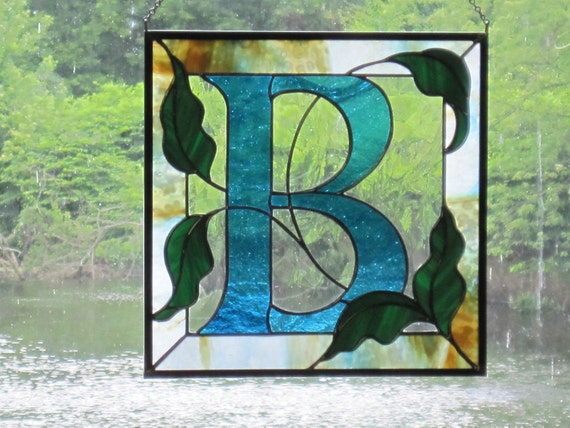items similar to custom stained glass monogram on etsy