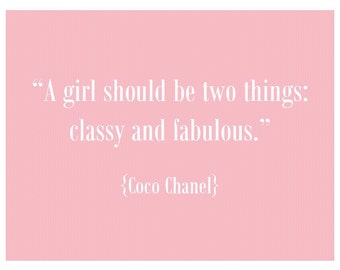 Coco Chanel print - pink polka dot