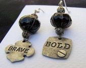 Brave Earrings, Bold Earrings, Industrial Jewelry, Industrial Earrings, Hardware Earrings, Hardware Jewelry, Tomboy Jewelry, Tomboy Earrings