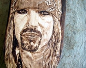 "Bret Michaels spatula -For Dads who rock -""Poison""s lead singer -unique pyrography art portrait-"