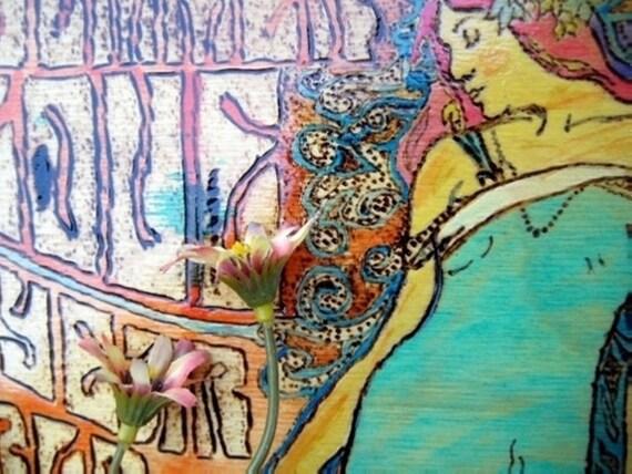 Rock Festival San Francisco 1967 -Hippie wall art -Pyrography sale