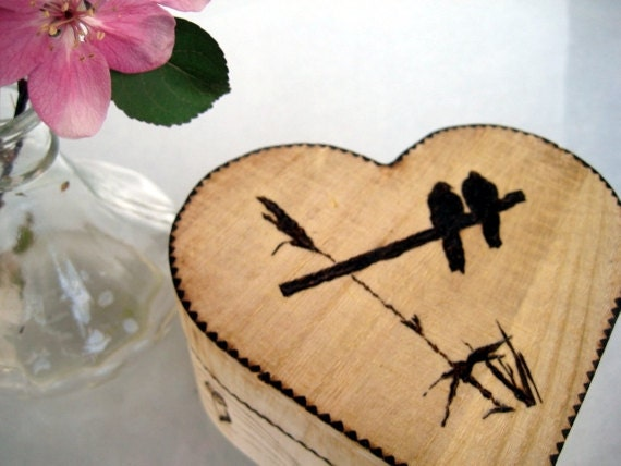 Rustic heart box - Love birds private moments -Personalized