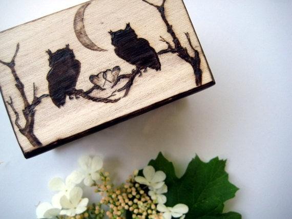 Rustic ring box -Romantic owl moments -personalizable rustic chic weddings