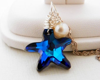 Blue Beach Wedding Jewelry, Beach Wedding Necklace, Swarovski Starfish Necklace Freshwater Pearl Necklace, Destination Wedding Pendant