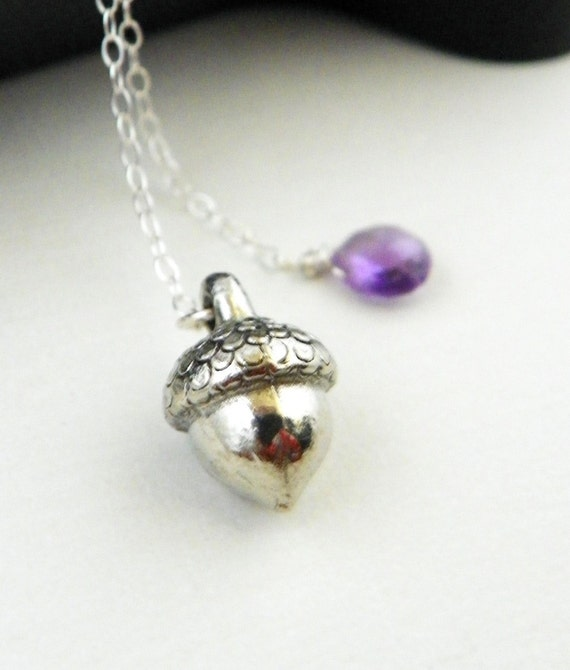Silver Acorn Lariat Necklace Amethyst Gem Briolette February Birthstone  on Sterling silver Fall Winter Wedding Handmade by Estylo Jewelry