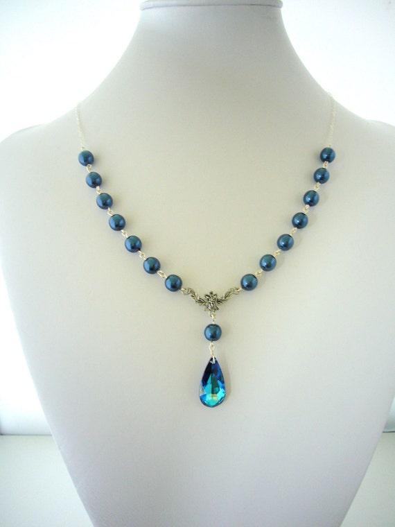 Peacock Pearl Necklace, Blue Wedding Necklace, Bermuda Blue Swarovski Teardrop, Antiqued Silver, Sterling Silver chain, Bridesmaid Gifts
