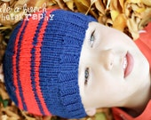 SALE 25% OFF - Boy's Knit Hat in Blue with Red Stripes