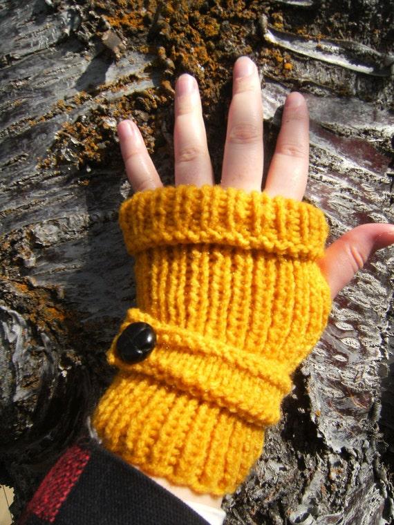 Fingerless Gloves with Cuff in Golden Mustard with Dark Brown Button - Sale 25% Off
