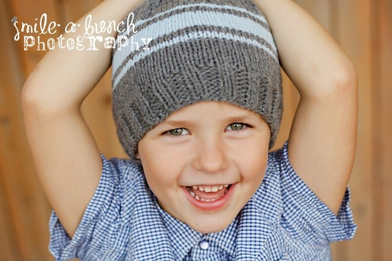 SALE 25% OFF - Boy's Beanie Hat in Grey with Light Blue Stripes