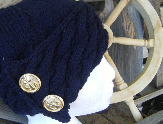 Women's Triple Cable Knit Navy Hat with Gold Anchor Buttons