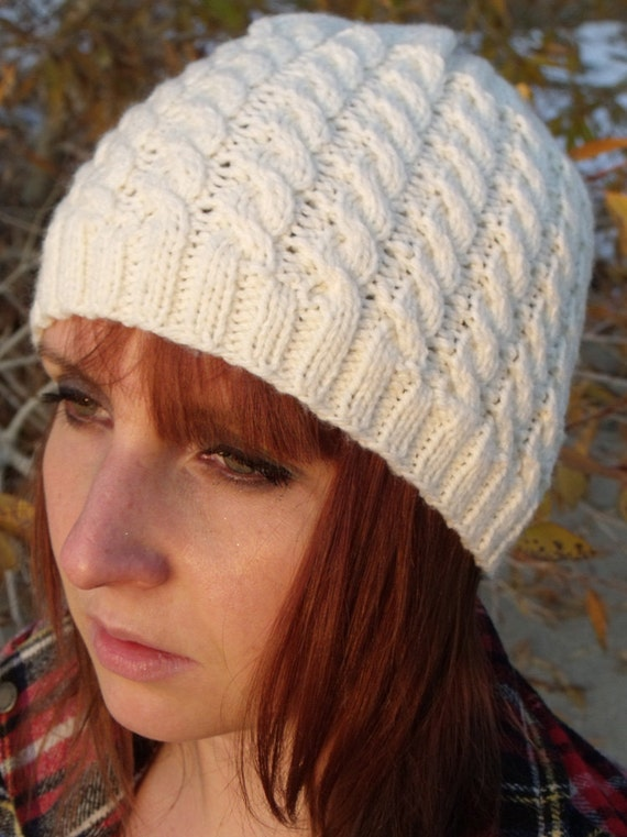 Women's Cable Knit Hat in Cream -Winter Accessories