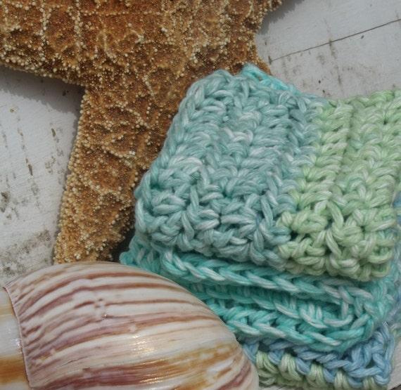 SALE 50% OFF - Dishcloths - Crochet Dish Cloths in Ocean Tones - Set of Three, Nautical, Blue, Sea Green, Teal, Turquoise