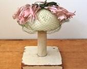 Vintage 1960s Fascinator - Green Veiled Hat - The Henrietta