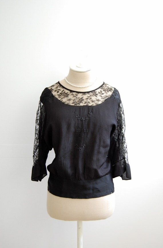 The Emerson- Vintage Antique Early 1900s Victorian Steampunk Noir Black Silk Peek A Boo Lace Embroidered Bell Sleeves Shirt Top Blouse Plus Size XL 2X