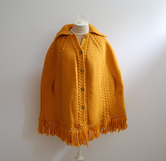 The Macy- Vintage 1960s Hippie Woodstock Bohemian Mad Men Orange Wool YarnFringed Button Front Cold Weather Cape Size L XL 2X