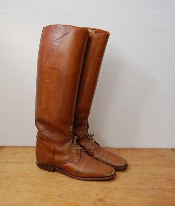 Vintage 1920s Boots - Leather Riding Boots - The Odette