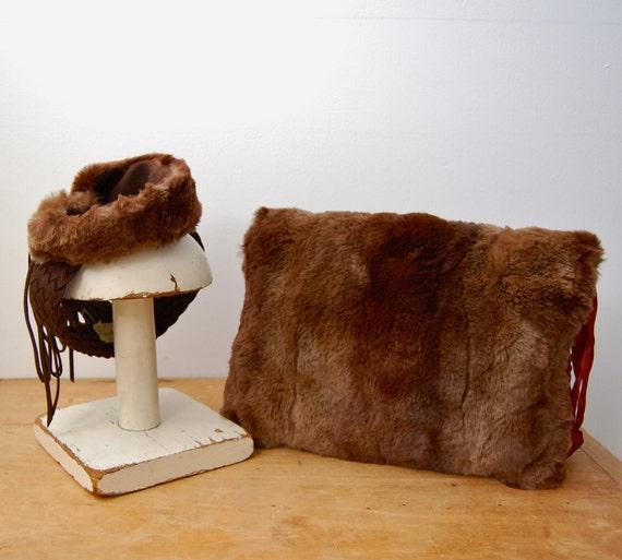 ON SALE 40% - Vintage 1930s 1940s Tilt Hat & Muff Set - War Era Beaver Fur - The Coco