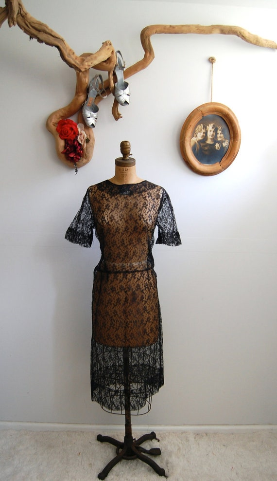 Vintage 1930s Dress - 30s Black Lace Dress - The Jeanette