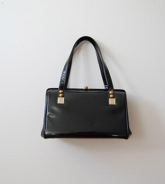 Vintage 1950s Handbag - Black Patent Purse - The Bettie