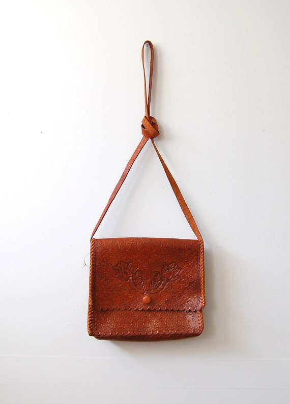 Vintage 1970s Bag - 70s Tooled Leather Purse - The Sienna