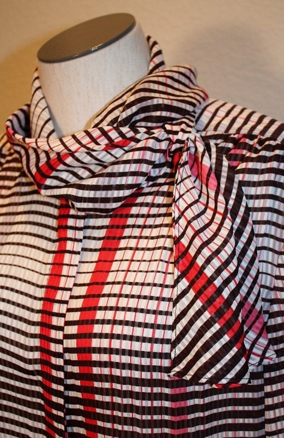 1980s Tie Blouse in Red, Black, Fuchsia and White Plaid Vintage Retro Office Secretary Teacher