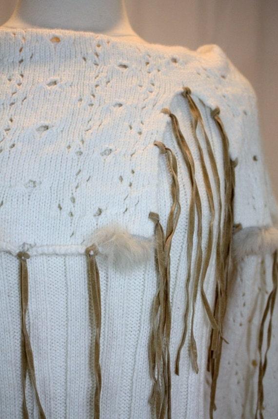 Ivory Sweater Shawl Collar Leather Like Strips Rabbit Fur Hand Upcycled embellished Sexy Native Hippie Off White Cream Beautiful Tribal Boho