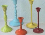 Shabby Chic Brass Candlesticks:  Citrus Shades