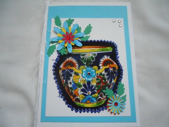 Flower Vase card, Blue, Blank card