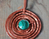 On the Green, malchite and copper pendant