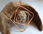 extra large dalmatian jasper solid copper pendant handcrafted
