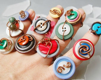 Two colorful wire wrapped vintage button rings in any size 1,2,3,4,5,6,7,8,9,10,11,12,13