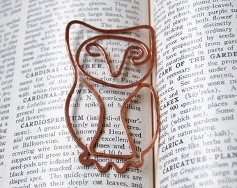 Copper horned owl bookmark hand hammered