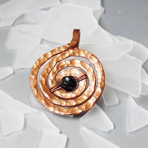 black agate and copper pendant