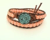 Beaded leather wrap bracelet - Peach Baby - Country Chic Bohemian fashion, peachy pink, pastel, double, spring, shabby boho cowgirl