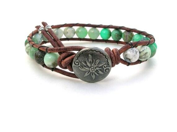 Rustic Mint leather wrap bracelet,  Bohemian jewelry, chrysoprase stones, Thai fine silver, cowgirl chic, mint green, semiprecious