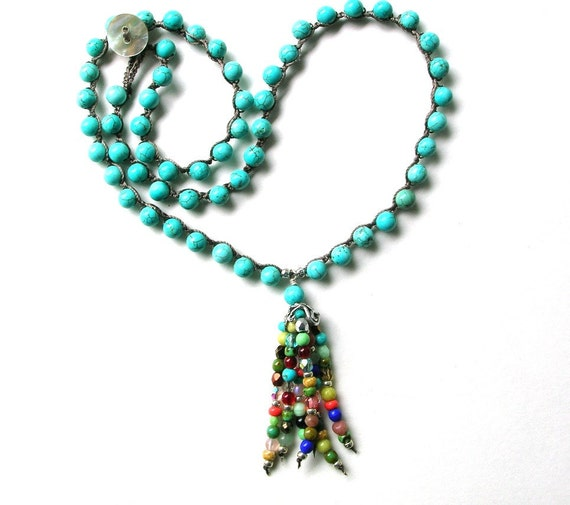 Boho fringe necklace - Tribal Rhythm - Bohemian jewelry, tassel, crochet necklace, Turquoise, artisan sterling silver, gypsy, hippie chic