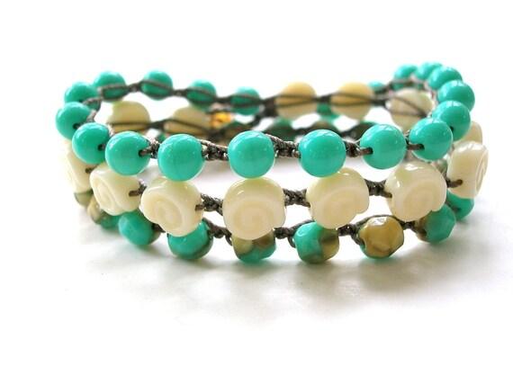Beachy crochet wrap bracelet boho crochet anklet - Summer Song - Bohemian jewelry, beach jewelry crochet necklace, waterproof, seashell