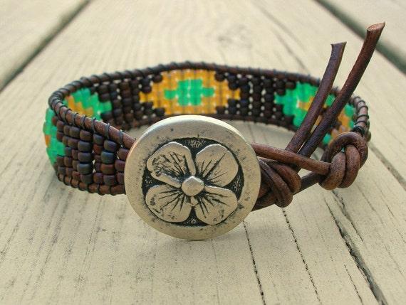 Southwestern beaded leather cuff ON SALE, OOAK wrap bracelet, native american Boho friendship bracelet, brown, turquoise green, bohemian