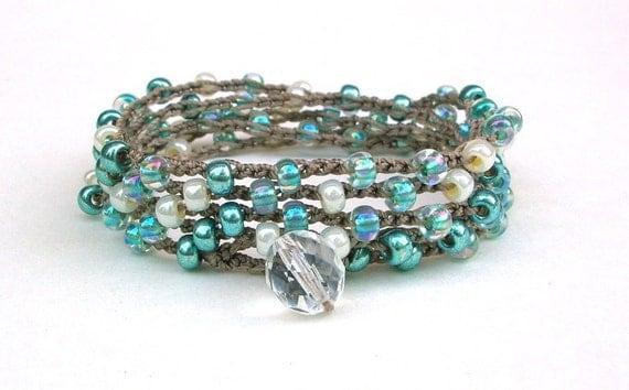Bead crochet wrap bracelet - Seafoam Sparkle - Bohemian jewelry, long necklace, pearl white, metallic, aqua, beachy boho chic