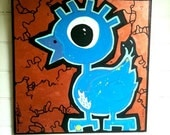 Blue Gangsta Duck Original Painting, 12x12
