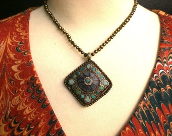 Fresh Water / Bronze Pearl / Necklace / with Tibetan Hammered Brass  and Turquoise